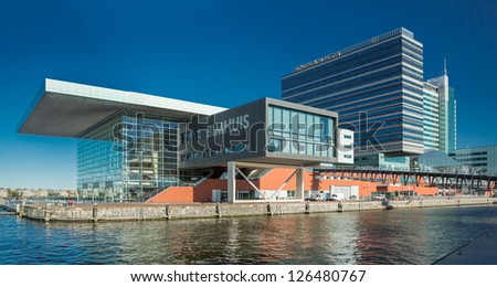 AMSTERDAM - NOVEMBER 27: The Bimhuis concert hall in November 27 2012 is a venue for jazz and improvised music in Amsterdam. - stock photo
