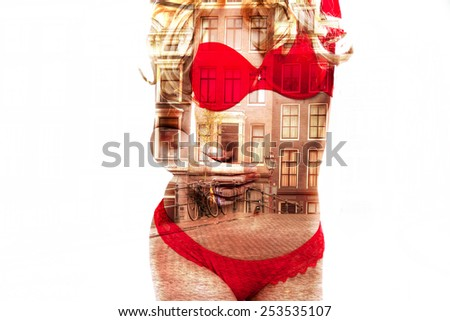 Amsterdam Red Light District City. Sexy blonde in red lingerie in the city where legalized prostitution. double Exposure - stock photo