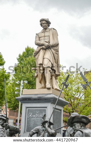 AMSTERDAM - SEPTEMBER 17, 2015: Rembrant monument in famous Rembrant park in Amsterdam - stock photo