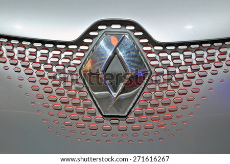 AMSTERDAM, THE NETHERLANDS, 17 APRIL 2015 - Grille of a Renault car, displayed during AutoRai 2015. - stock photo