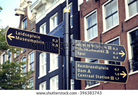 AMSTERDAM; THE NETHERLANDS - AUGUST 19; 2015: Tourist signpost street indicating an interesting excursion in Amsterdam. Amsterdam is capital of the Netherlands on August 19; 2015. - stock photo