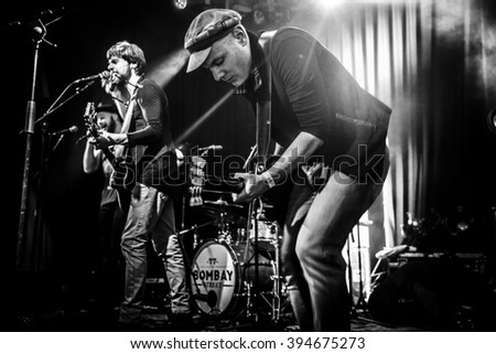 Amsterdam, The Netherlands, 18 March, 2016: concert of Swiss rock band 77 Bombay Street at venue Paradiso - stock photo