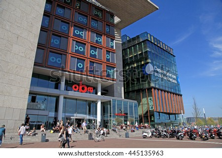 AMSTERDAM, THE NETHERLANDS - MAY 6, 2016: Modern buildings of Conservatory and Library,cultural centres,example of contemporary architecture and design, Amsterdam. - stock photo