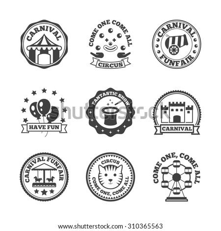 Amusement park carnival funfair family fun label black set isolated  illustration - stock photo