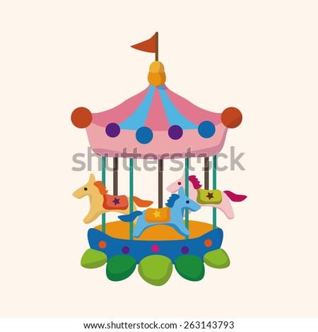 Amusement park facilities theme elements - stock photo