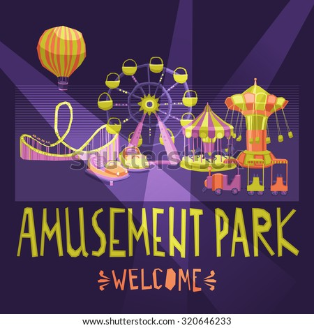 Amusement park welcome poster with extreme and entertainment attractions  illustration - stock photo