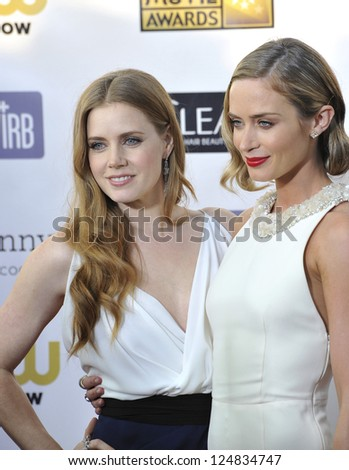 Amy Adams & Emily Blunt (right) at the 18th Annual Critics' Choice Movie Awards at Barker Hanger, Santa Monica Airport. January 10, 2013  Santa Monica, CA Picture: Paul Smith - stock photo