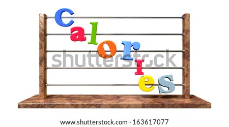 An abacus with various colored letters placed to spell out the word calories on an isolated white background - stock photo