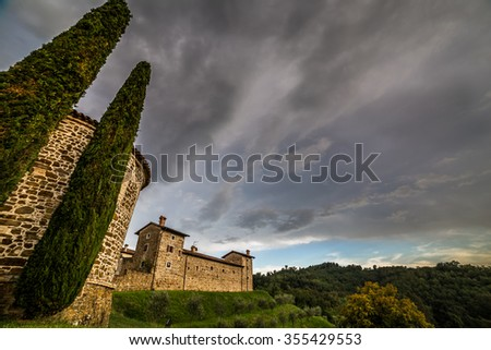 an abandoned and ruined farm in the fields of Italy - stock photo