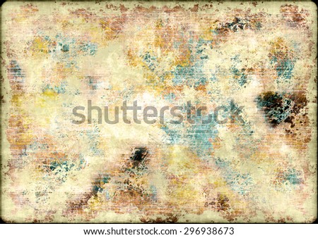 An abstract background of a concrete wall with grunge style parchment texture effect and copy space - stock photo