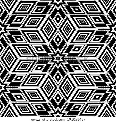 An abstract black and white pattern in the style of artist MC Escher. - stock photo