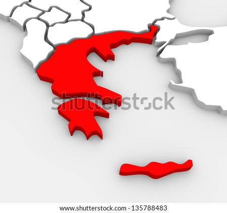 An abstract 3D illustrated map of southern Europe with Greece targeted in red - stock photo