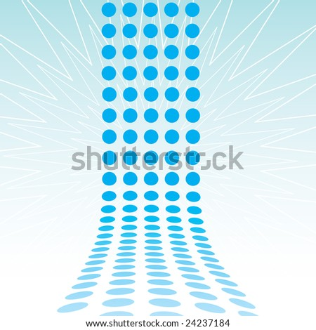 An abstract design template - dots forming a 3d wall. - stock photo