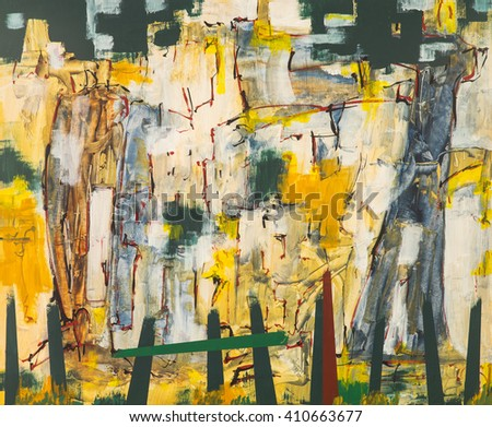 An abstract expressionist painting, suggestive of a rock face and fence. - stock photo