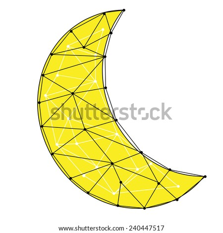 An abstract geometric crescent moon design - stock photo