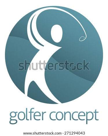 An abstract golfer figure swinging his golf club circle concept design - stock photo
