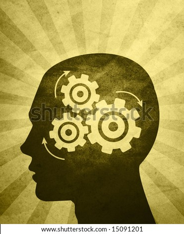 An abstractÃ? illustration of aÃ?silhouettedÃ?head thinking hard trying to solve problems / answer questions. - stock photo