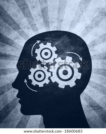 An abstract? illustration of a?silhouetted?head thinking hard trying to solve problems / answer questions. - stock photo