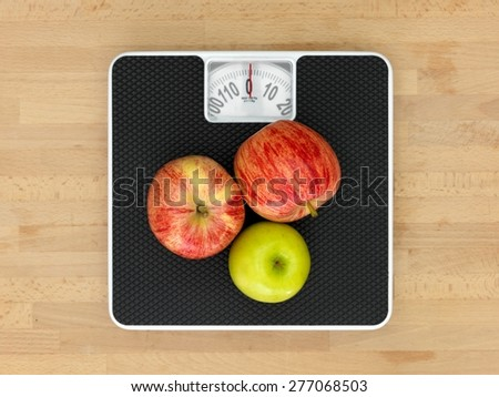 An abstract image of a set of bathroom scales - stock photo