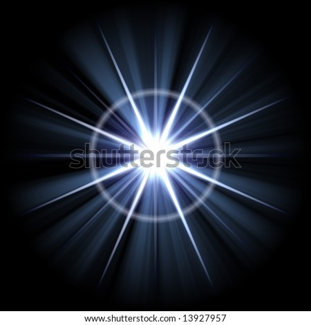 An abstract lens flare. Very bright burst - works great as a background. - stock photo