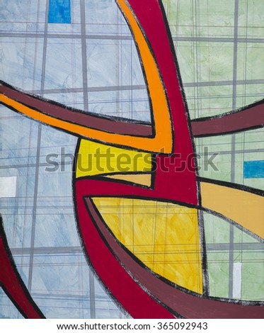 an abstract modernist painting with bold, sweeping curves - stock photo