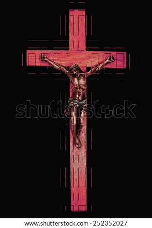 An abstract of Christ on the cross in red on black - stock photo