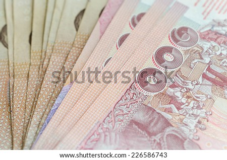 An Abstract of One Hundred thailand with Narrow Depth of Field. - stock photo