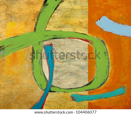 an abstract painting - green loop - stock photo