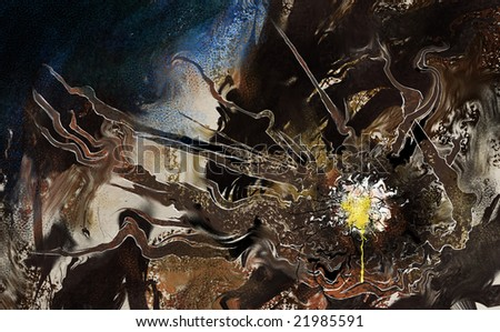 an abstract painting on a shattering splattered egg in a grungy surrealist composition - stock photo