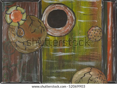 An abstract painting reminiscent of ponds and/ or germs. Very weathered. - stock photo