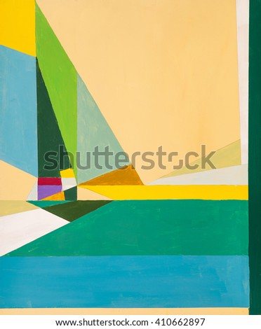 An abstract painting suggestive of sea and sails. - stock photo