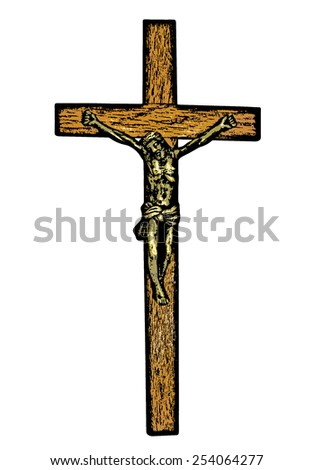 An abstract sketch of  Jesus Christ on the cross isolated on white - stock photo