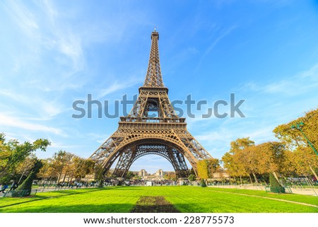 An abstract view of a park and Eiffel Tower, Paris, France  - stock photo