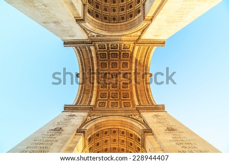 An abstract view of Arc de Triumph, Paris,France - stock photo