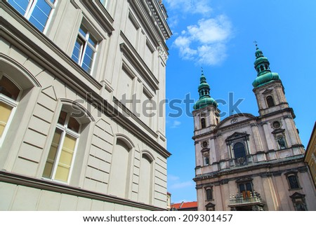 An abstract view of st. Peter and Paul's church in Nysa, Poland - stock photo