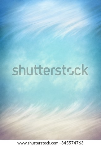An abstraction of clouds and fog on a textured paper background.  Image displays a pleasing paper grain and texture at 100 percent. - stock photo