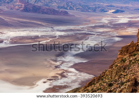 An abundance of natural beauty. Dramatic panoramic view. Dante's View, Death Valley National Park - stock photo
