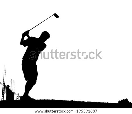 An action golfer in silhouette with tee off - stock photo