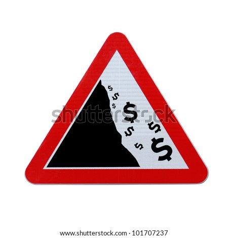 An actual road sign modified to imply the fall or devaluation of the dollar currency. Applicable for business or financial concepts. (Isolated on white with clipping path.) - stock photo