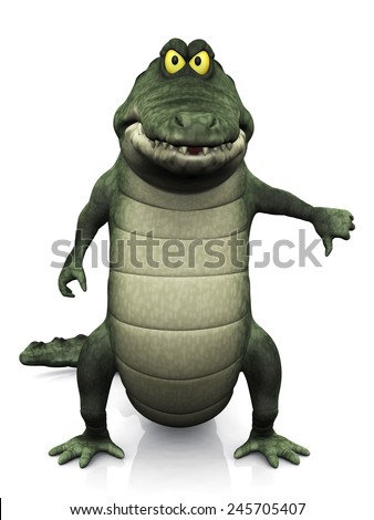 An adorable cartoon crocodile doing a thumbs down with his hand. White background. - stock photo
