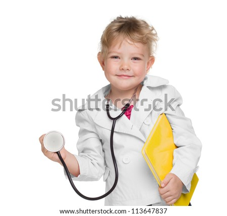 An adorable little girl playing doctor on white - stock photo
