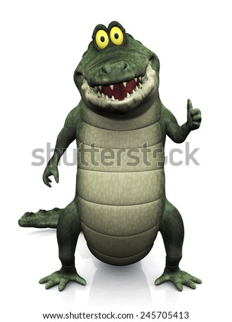 An adorable smiling friendly cartoon crocodile doing a thumbs up with his hand. White background. - stock photo