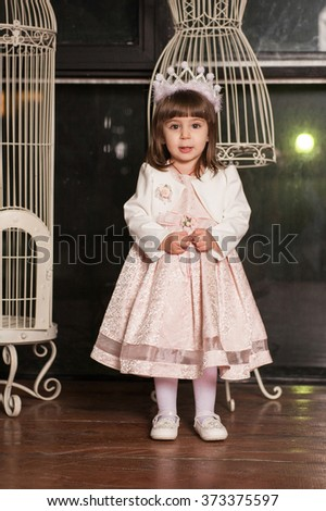 An adorable 2-year-old girl in Princess dress. Portrait in full growth in the interior - stock photo