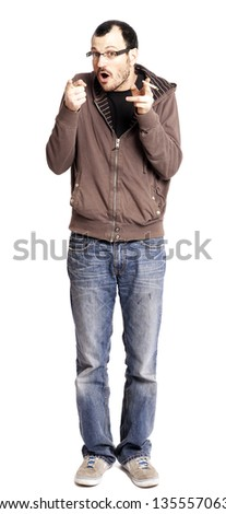An adult man in his early 30's holding a rolled cigarette/joint in his hand. He's looking at the camera with a cheerful expression, both hands pointing at the camera. Isolated on white background. - stock photo