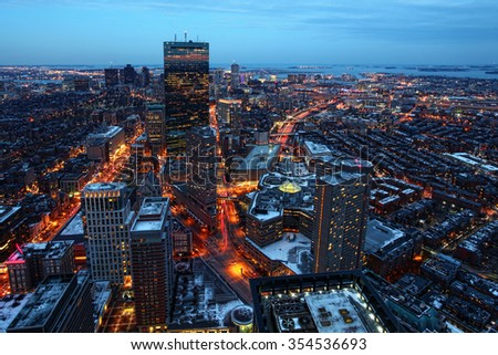 An aerial night view of Boston city center, Massachusetts - stock photo
