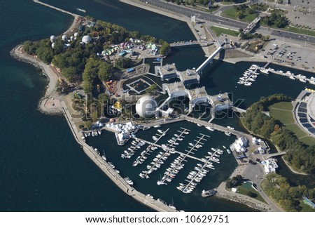 An aerial shot of Ontario Place in Toronto, Canada. - stock photo