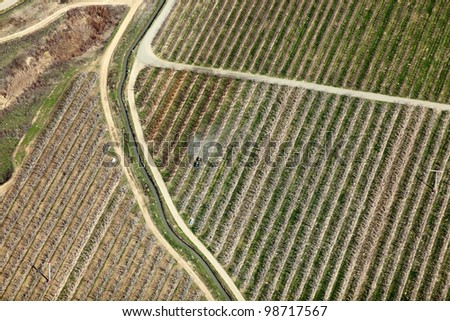 An aerial view of a farmer spraying insecticide on a dormant apple orchard. - stock photo