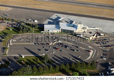 An aerial view of a small airport terminal - stock photo