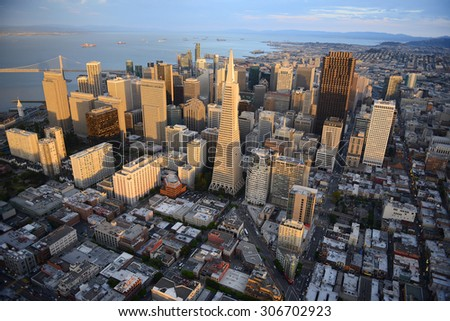 an aerial view of downtown san francisco during sunset - stock photo