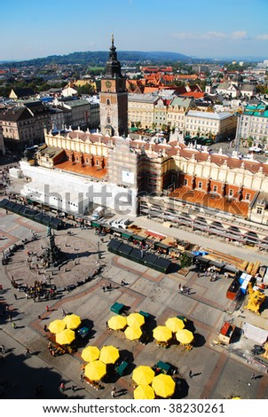 An aerial view of Sukiennice of Cracow, Poland. See more in my portfolio. - stock photo